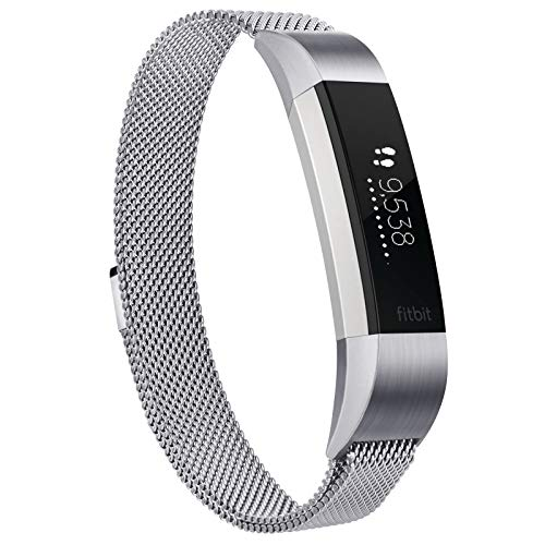 Demark Compatible with for Fitbit Alta HR Strap/Fitbit Alta Strap,Metal Stainless Steel Bracelet Strap with Unique Magnet Lock for Fitbit Alta HR (Silver, Small Size fits 5.1' - 6.7' wrists)
