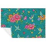 EZIOLY Colibri - Manta de microfibra con patrón floral para las piernas, súper esponjosa, suave, cálida, para cama, sofá, al aire libre, viajes, picnic, camping (59 x 39 pulgadas)