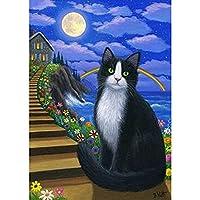 黒猫の動物の美しい花﹣近代美術ラポスター帆布絵画装飾用の写真を印刷絵キャンバスの壁ア﹣40X50Cm(フレームなし)