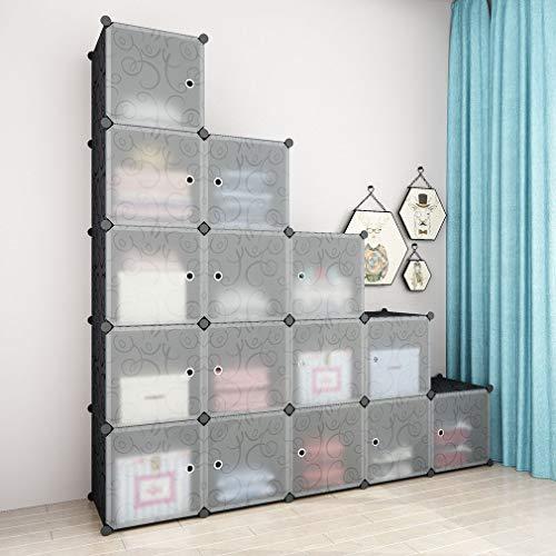 SIMPDIY Armadio, 16 cubo Ripiani cubici Armadio modulare, scaffale plastica per Abiti Antipolvere con Porta per Camera Letto,Guardaroba per Articoli Soggiorno dell'ufficio,144x36x144cm