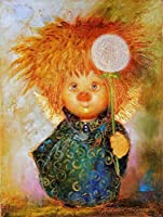 DMFNGJSD 数字油絵 フレームレス 、数字キット塗り絵 手塗り DIY絵-黄色い髪 40X50cm