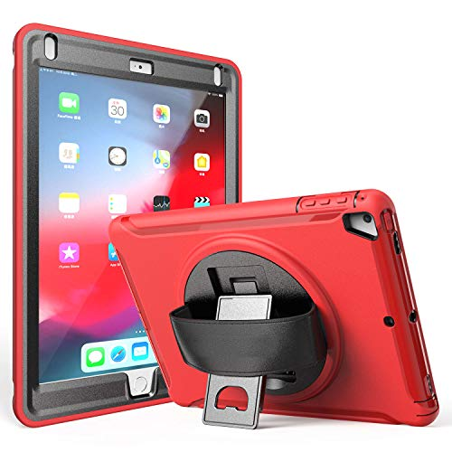 TSQ iPad 9.7 2018/2017 Case with Hand Strap and 360 Degree Rotatable Stand, iPad Air 2/iPad Air/iPad Pro 9.7 Case Cover with Hand Grip,Hard Triple Layer Dropproof Kidsproof Hybrid Bumper TPU Case Red