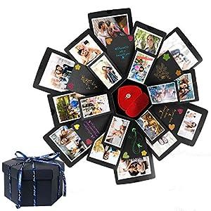 HebyTinco Kreative Überraschung Box Explosions-Box DIY Faltendes Fotoalbum, Geschenkbox, Kreative Überraschung Box DIY, Geburtstag Jahrestag Valentine Hochzeit Geschenk, für Hochzeit, Muttertag (Gray)