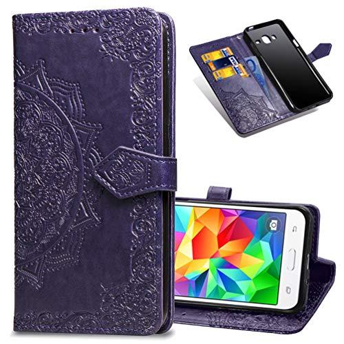 MRSTER Cover Compatibile con Samsung Galaxy J2 Prime, Flip Case Premium Protettiva Portafoglio PU Pelle Custodia per Samsung Galaxy Grand Prime G530 / J2 Prime. SD Mandala Purple