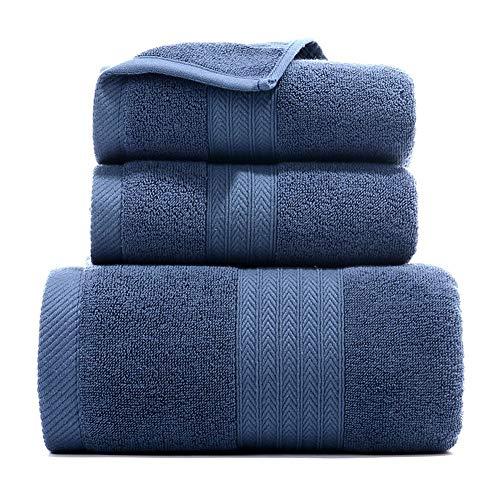 ZFHNYJWKL Juego de 3 Toallas de Microfibra de Algodón Puro(1 Toalla de Baño+2 Toallas),Súper Absorbente y de Secado Rápido,Toalla de Baño Súper Suave,Resistente a la Decoloración (Azul,140 * 70 cm)