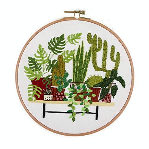SoonCat Borduurset voor beginners, planten patroon kruis steek Kits DIY Naaldpunt Kits voor volwassenen voor starter Planten 06