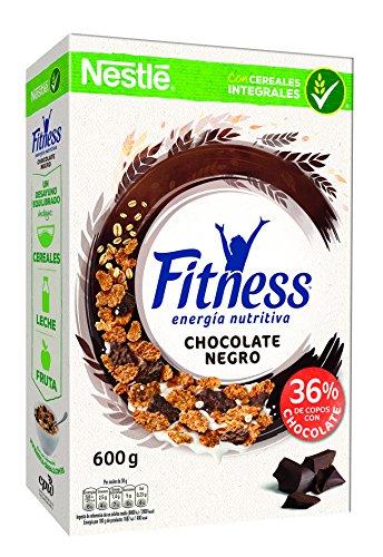 Cereales Nestlé Fitness con chocolate negro - Copos de trigo integral, arroz y...