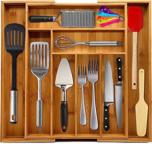 KICHLY Ausziehbare Schubladenorganisation aus Bambus - Verstellbare Schubladenorganisation für Zuhause und Küche - 8 Fächer - FDA- und FSC-zugelassen - Ideal für den Einsatz in Küche, Zuhause und Büro