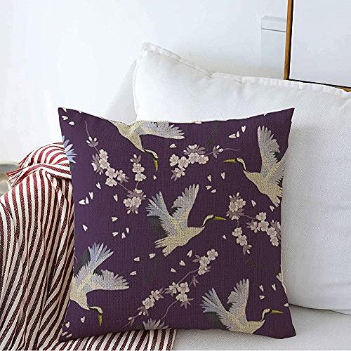 Farmhouse Funda de Almohada Decorativa Funda de Almohada Cuadrada Elegante Awaresome Heron Pintura Floral Patrón de grúa Blanca Moda Oriental Abstracta Asia Bird Funda de cojín para sofá Dor