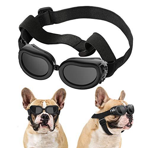 Lewondr Gafas de Sol para Mascotas, Anteojos Anti-Ultravioleta Niebla y Polvo con Correa Ajustable Elástica, Gafas Protectoras para Perros Pequeños para Fiesta Playa Viajar Tomar Fotografías, Negro