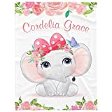 Personalized Baby Blankets for Girls with Name Personalized Blankets for Baby Girl Personalized Baby Blanket with Name Custom Baby Blankets with Name,Floral Elephant,30X40INCH