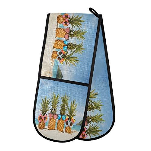 TropicalLife DLBBABZ - Gafas de sol de piña para playa, doble manopla para horno, antideslizante, doble guante para horno, resistente al calor