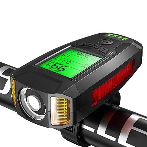 BDBD Luz Bicicleta Delantera Recargable USB con Cuentakilómetros Impermeable 300 Lumens para...