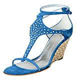 Giuseppe Zanotti Design Women's Blue Beaded Ankle Strap Wedges Shoes US 11 IT 42