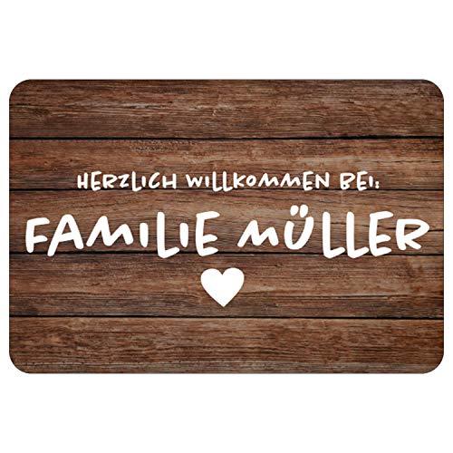 Fußmatte rustikal - personalisierte Türmatte in Holzoptik mit Name individualisiert - Fußmatte mit Familienname/Wunschname Bedruckt - Geschenkidee zur Hochzeit