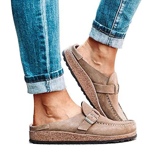 jdiw Zuecos CóModos Casuales para Mujer Sandalias De Gamuza Sin Zapatos Moda Holgazanes Zapatillas Caminar con Punta Cerrada Verano Loafer
