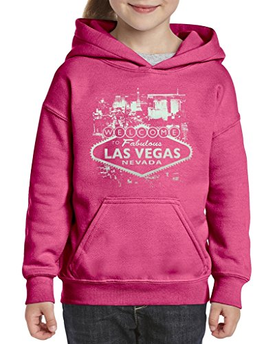 ACACIA Welcome to Las Vegas Nevada Unisex Hoodie for Girls and Boys Youth Sweatshirt Large Azalea Pink