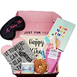Unique Spa Gift Basket for Women - Fun 8pc Box for Mom, Birthday, Mother's Day, Christmas. Includes Notebook, Donut Bath Bomb, Sugar Scrub, Bath Salt, Lip Balm, Funny Socks, Makeup Bag, Eye Mask