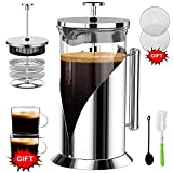 QUQIYSO French Press Coffee Maker - 34oz Glass Coffee Presses with 4 Level Filtration System & Heat Resistant Borosilicate Glass/Stainless Steel Protection (Extra 2 Glass Coffe Cup-2 Filters Screen)