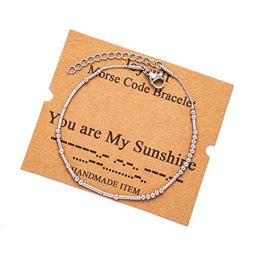 Silver Morse Code Bracelets for Women You Are My Sunshine Inspirational Bangle Jewelry Christmas Birthday Mother's Day Valentine's Day Gifts for Her Mom Daughter Sister Best Friend Girlfriend Wife