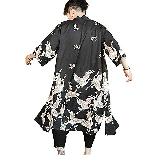 HAORUN Kimono japonés para hombre, suelto, Yukata, Outwear largo, albornoz - negro - Medium
