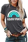 JINTING Good Vibes Graphic Tee Shirt for Women Teen Girls Long Sleeve Casual