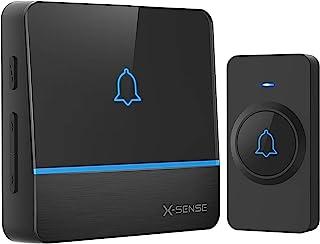 X-Sense Draadloze bel, deurbel set met meer dan 600 m draadloos bereik, waterdichte huisdeurbel met 1 ontvangst, led-flit...