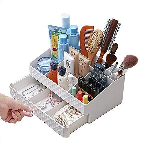 WOF Kosmetik-Aufbewahrungsbox für Make-up, Schmuck, Kosmetik, Accessoires, Make-up, Hautpflegeprodukte, Finishing-Box, Lippenstift, Parfüm, Schmuck, Weiß