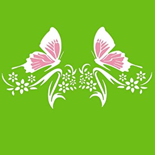 Practisol Car Decals for Women,1 Set Butterfly and Flower Car Decal Stickers, Vinyl Car Graphics Side Hood Decals for Cars/SUV, Universal Scratch Hidden Car Sticker (Pink White)