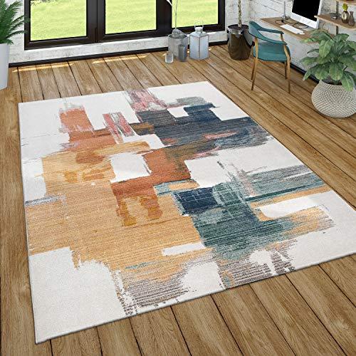 Paco Home Teppich Wohnzimmer Kurzflor Abstraktes Geometrisches Muster, Versch. Farben Größen, Grösse:120x170 cm, Farbe:Mehrfarbig 2