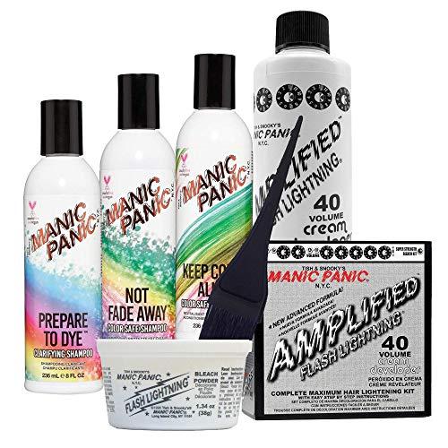 Manic Panic Shampoo & Conditioner Bundle with Prepare to Dye Clarifying Shampoo and 40 Volume Cream Developer Hair Bleach Kit