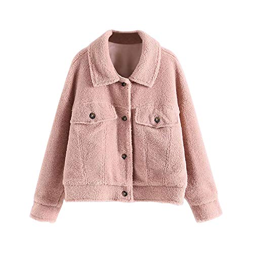 Casual Vrouwen Roze Jacket winter-herfst knoop teddybeer mantel dame Batwing Long Sleeve Warm Soft Tops