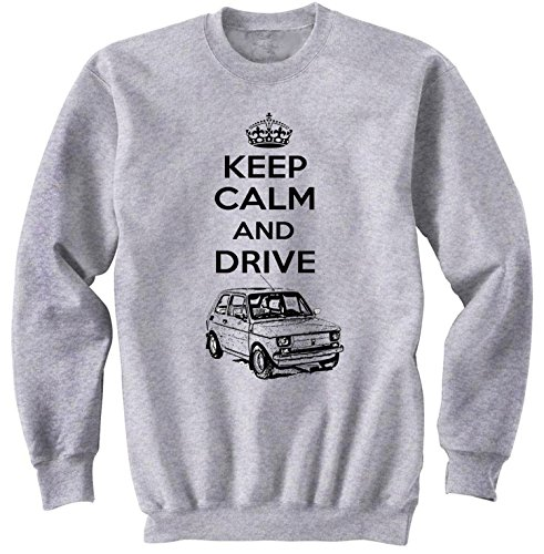 TEESANDENGINES Men's Fiat 126 P MALUCH Polish Keep Calm P Felpa Grigia Size Small