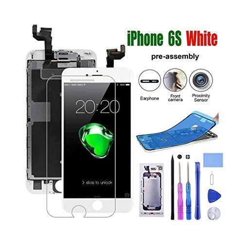 MeetDream Für iPhone 6s Display Touchscreen Digitizer Vormontiert mit Home Button, Hörmuschel, Frontkamera Ersatz Bildschirm Glas und Reparaturset Komplettes Kostenlose Werkzeug,Weiß