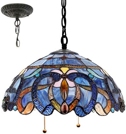 Tiffany Hanging Lamp 16 Inch Pendant Light Blue Purple Stained Glass Cloud Shade S0558 WERFACTORY product image