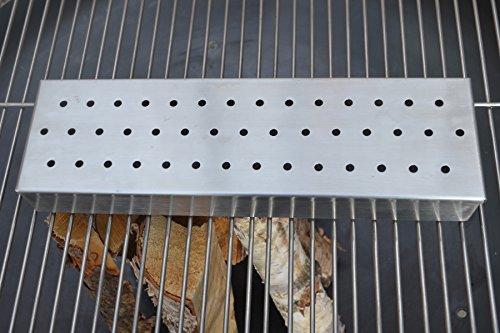 Köhko Räucherbox Edelstahl Grillzubehör für Gasgrill und Kohlegrill Aromabox L35 xB10 x H4,6 cm 42008