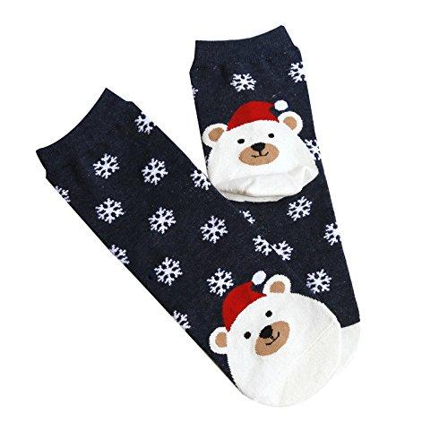 Calcetines de Navidad con Dibujos Animados de Fox Copos de Nieve adecuados para Hombres y Mujeres riou