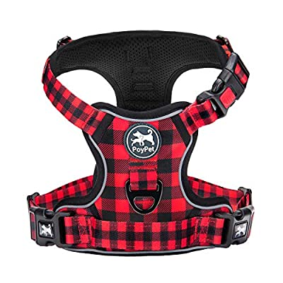 PoyPet No Pull Dog Harness, [Upgrade Version] No Choke Front Lead Dog Reflective Harness, Adjustable Soft Padded Pet Vest with Easy Control Handle for Small to Large Dogs