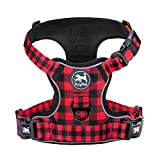 PoyPet No Pull Dog Harness,[Release on Neck] Reflective Adjustable No Choke Pet Vest with Front & Back 2 Leash Attachments,Soft Control Training Handle for Small Medium Large Dogs(Checkered Red,M)