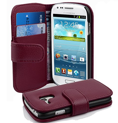Cadorabo Funda Libro para Samsung Galaxy S3 Mini en Burdeos Violeta - Cubierta Proteccíon de Cuero Sintético Estructurado con Tarjetero y Función de Suporte - Etui Case Cover Carcasa