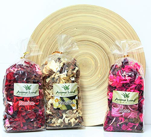 Direct Global Potpourri 3 x 80 g - Vanilla, Rose, Passion + dekorative Platte. Zum Entspannen und Dekorieren des Hauses. Raumduft, Lufterfrischer, Blüten, Natur, Getrocknete Blumen