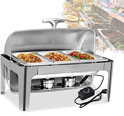 9 liter electric food warmer with lid baking tray, stainless steel buffet for buffet weddings or parties - keeps food warm all day YZPBB (Size : GN 1/3)