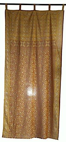 lakkar haveli Cortinas de tela de Georgette india para ventana, cubierta de puerta, cortina de color marrón, precio por cortina amarillo estampado floral