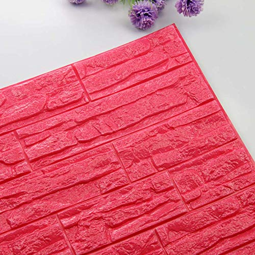 Home Decoration Self Adhesive 3D Brick Wall Stickers Stone Living Room Decor Foam Waterproof Panels Covering Wallpaper TV Background Kids Home (Color : Red, Size : 60X60cmX6pcs)
