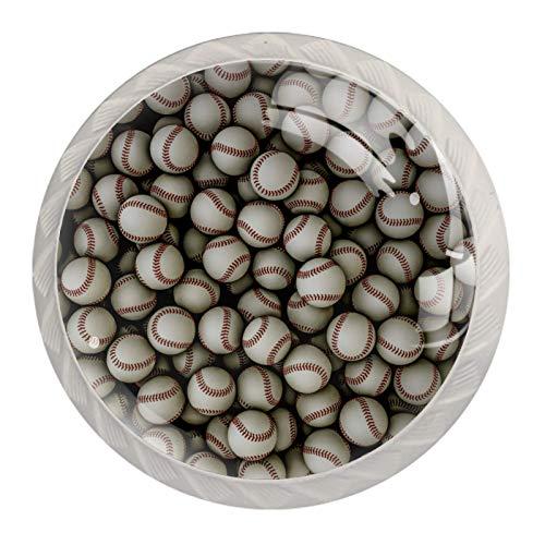 Schubladengriffe mit Baseball-Muster, für Schrank, Frisiertisch, Kommode, mit Schrauben, 4 Stück