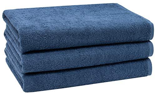 ZOLLNER 3er Set Duschtücher, 70x140 cm, 100% Baumwolle, 400g/qm, Marine blau