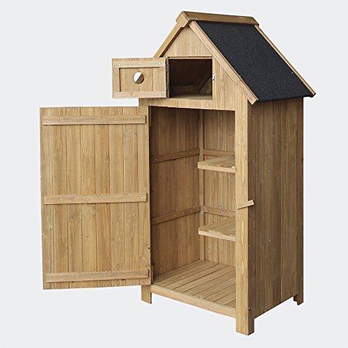 Caseta de jardín de madera de pícea con tejado de betún 770x540x1420mm, cobertizo, armario exterior