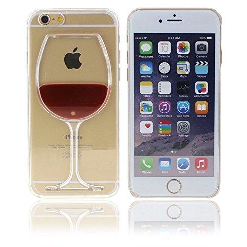 3D Copa Vino Tinto Transparente Funda Rígida Funda Rígida para iPhone 7 + Pantalla Protección Protector - Rojo, for iPhone 7 4.7'