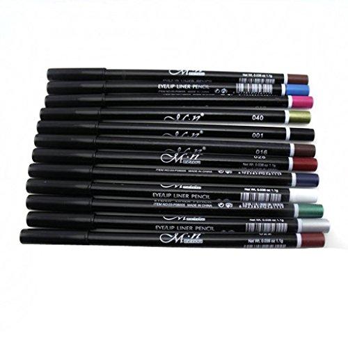 Delineador de ojos,RETUROM 12 colores maquillaje lápiz para ceja brillo sombra labio eyeliner