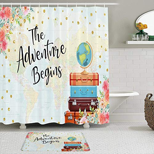ZYLASTORE 2Pcs Shower Curtain Set with Non-Slip Rug,Adventure Begins Vintage Red Floral Suitcases Travel Around the World Map,Waterproof Bath Curtain with 12 Hooks